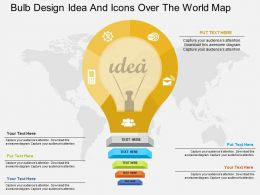 Bulb Design Idea And Icons Over The World Map Ppt Presentation Slides