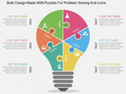 Bulb Design Made With Puzzles For Problem Solving And Icons Flat Powerpoint Design