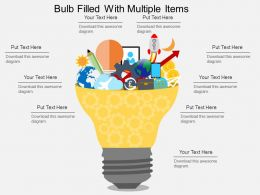 Bulb Filled With Multiple Items Flat Powerpoint Desgin