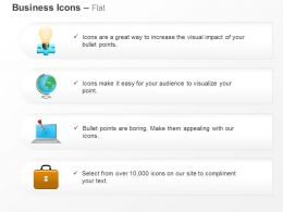 Bulb Globe Laptop Suitcase Target Selection Ppt Icons Graphics