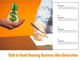Bulb In Hand Showing Business Idea Generation