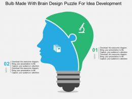 Bulb Made With Brain Design Puzzle For Idea Development Flat Powerpoint Design