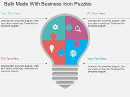 Bulb Made With Business Icon Puzzles Flat Powerpoint Design