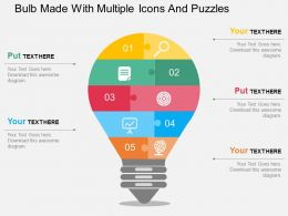 Bulb Made With Multiple Icons And Puzzles Flat Powerpoint Design
