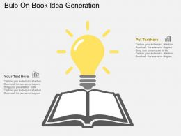 bulb_on_book_idea_generation_flat_powerpoint_design_Slide01
