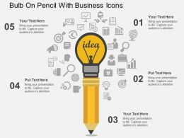 Bulb On Pencil With Business Icons Flat Powerpoint Design