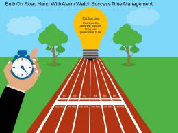 Bulb On Road Hand With Alarm Watch Success Time Management Flat Powerpoint Design