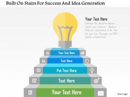 Bulb On Stairs For Success And Idea Generation Flat Powerpoint Design