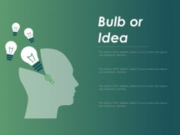 Bulb Or Idea Innovation F430 Ppt Powerpoint Presentation Outline Example Topics
