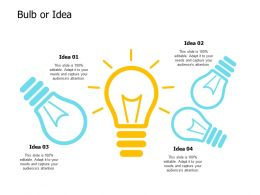 Bulb Or Idea Innovation Technology E180 Ppt Powerpoint Presentation Show Topics