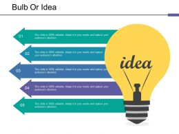 Bulb Or Idea Ppt Ideas Ppt Infographics