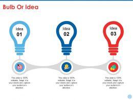 Bulb Or Idea Ppt Summary Outline