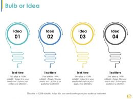 Bulb Or Idea Strategy Ppt Styles Example Introduction