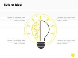 Bulb Or Idea Technology K285 Ppt Powerpoint Presentation Gallery Ideas