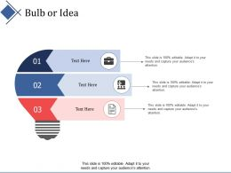 Bulb Or Idea Technology Ppt Summary Infographic Template