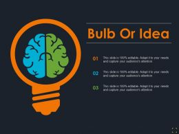 Bulb Or Idea With Brain Ppt Summary Graphics Example