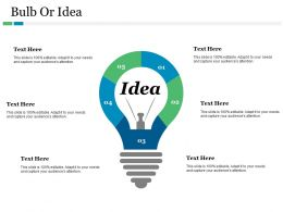Bulb Or Idea With Innovation Ppt Summary Brochure