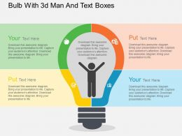 bulb_with_3d_man_and_text_boxes_flat_powerpoint_design_Slide01