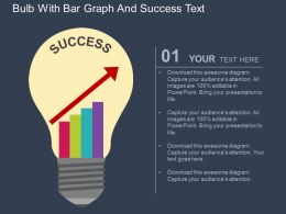 Bulb With Bar Graph And Success Text Flat Powerpoint Design
