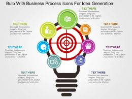 Bulb With Business Process Icons For Idea Generation Flat Powerpoint Design