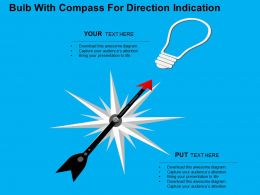 Bulb With Compass For Direction Indication Flat Powerpoint Design