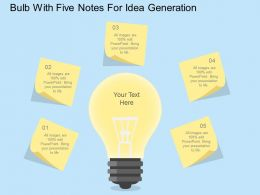 Bulb With Five Notes For Idea Generation Flat Powerpoint Design