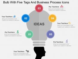 Bulb With Five Tags And Business Process Icons Flat Powerpoint Design
