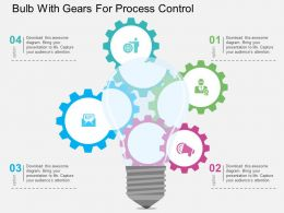 Bulb With Gears For Process Control Flat Powerpoint Design