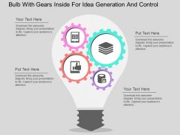 Bulb With Gears Inside For Idea Generation And Control Flat Powerpoint Design