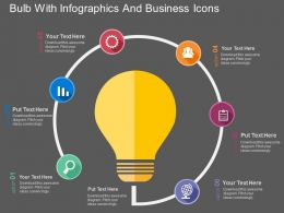 Bulb With Infographics And Business Icons Flat Powerpoint Design