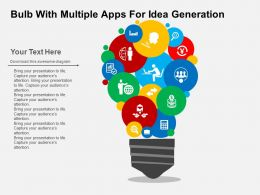 Bulb With Multiple Apps For Idea Generation Flat Powerpoint Design
