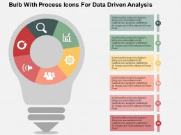 Bulb With Process Icons For Data Driven Analysis Powerpoint Slides