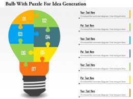 Bulb With Puzzle For Idea Generation Flat Powerpoint Design