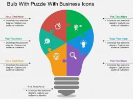 Bulb With Puzzle With Business Icons Flat Powerpoint Design