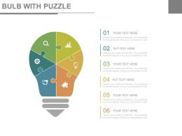 Bulb With Puzzle With Business Icons For Analysis Powerpoint Slides