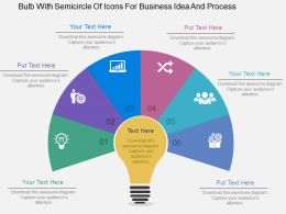 Bulb With Semicircle Of Icons For Business Idea And Process Flat Powerpoint Design