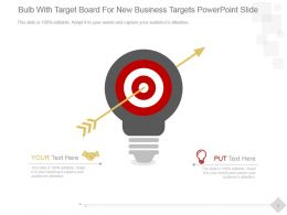 Bulb With Target Board For New Business Targets Powerpoint Slide