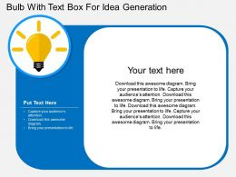 Bulb With Text Box For Idea Generation Flat Powerpoint Design