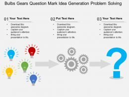 Bulbs Gears Question Mark Idea Generation Problem Solving Flat Powerpoint Design