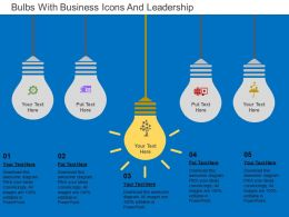 Bulbs With Business Icons And Leadership Flat Powerpoint Design