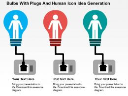 Bulbs With Plugs And Human Icon Idea Generation Flat Powerpoint Design