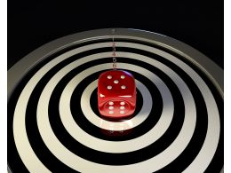Bulls Eye With Dice In Center Target Business Concept Stock Photo