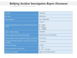 Bullying Incident Investigation Report Document