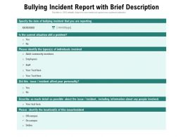 Bullying Incident Report With Brief Description
