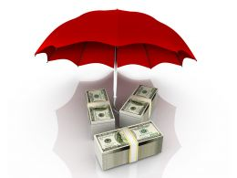 Bundles Of Dollars Under Red Umbrella Stock Photo