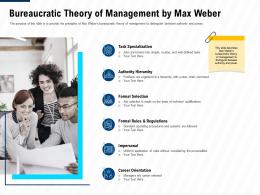 Bureaucratic Theory Of Management By Max Weber Leadership And Management Learning Outcomes Ppt Portfolio