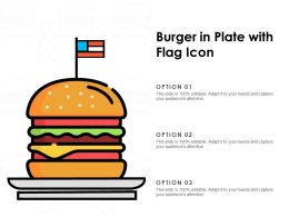 Burger In Plate With Flag Icon