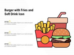 Burger With Fries And Soft Drink Icon