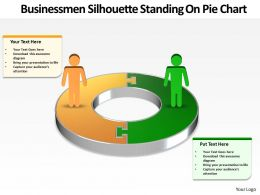 busines men silhouettes standing on pie char powerpoint Slides templates