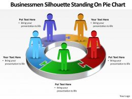 busines men silhouettes standing on pie chart powerpoint templates 5